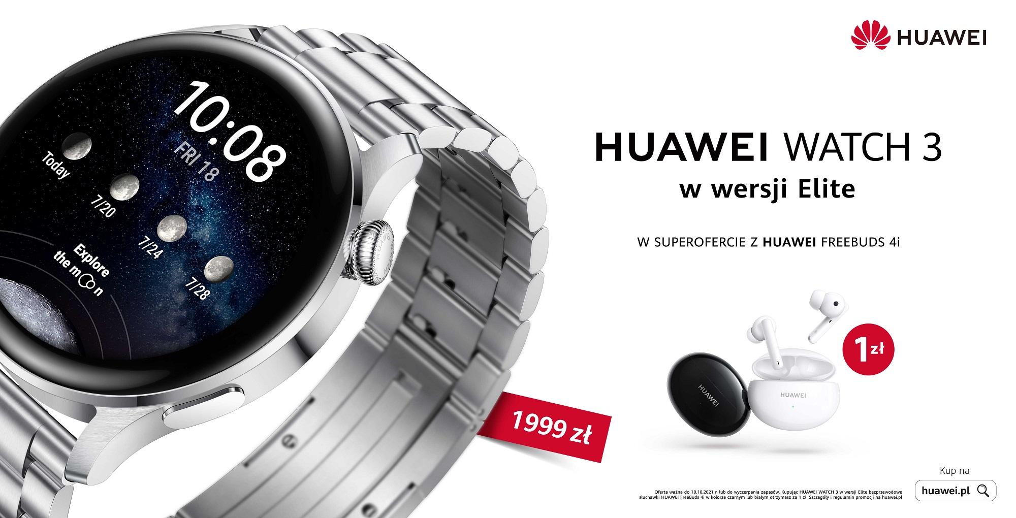 Huawei Watch 3 Elite ze słuchawkami FreeBuds 4i