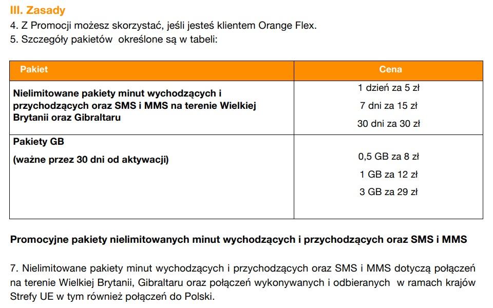 Orange Flex roaming Wielka Brytania cennik opłaty pakiety