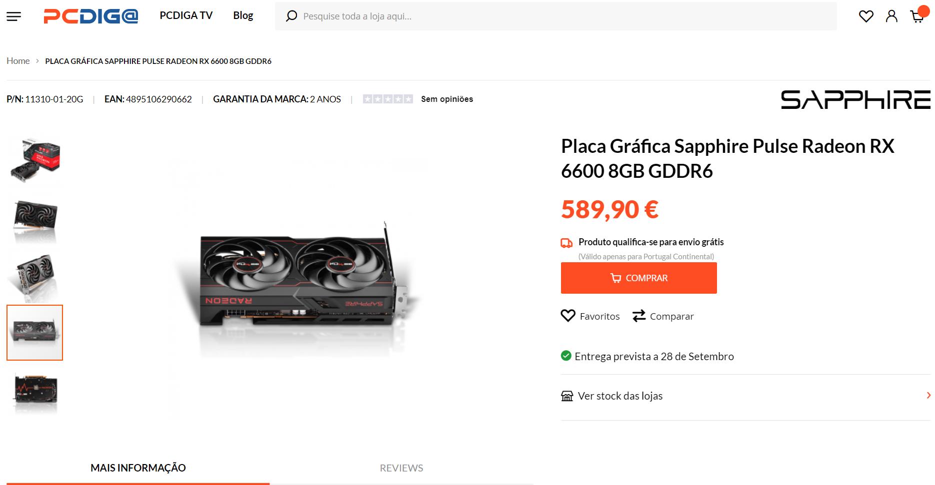 sapphire radeon rx 6600 pulse cena