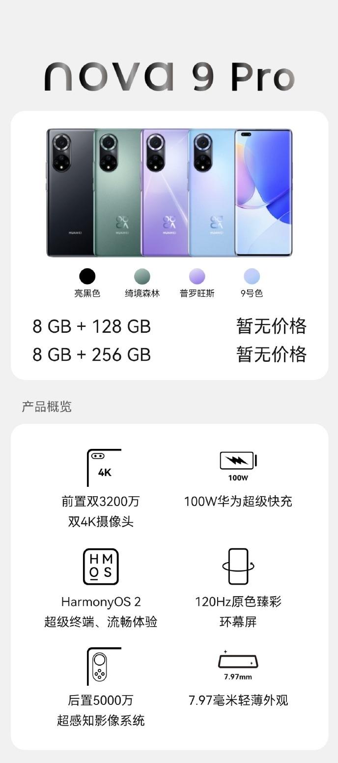 specyfikacja Huawei Nova 9 Pro
