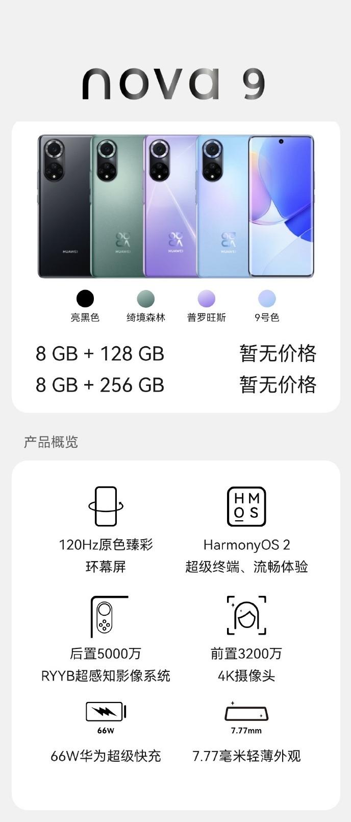 specyfikacja Huawei Nova 9