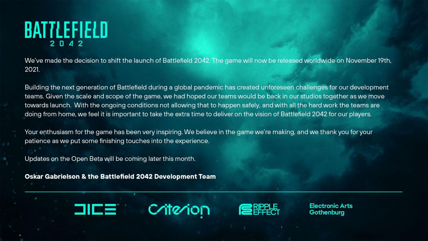 Battlefield 2042 - Przesunięcie premiery