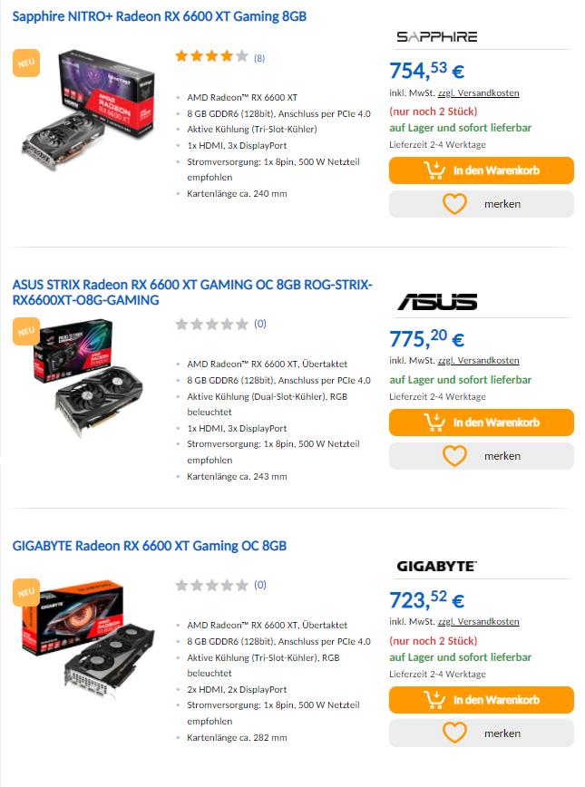 Ceny kart graficznych - RX 6600 XT