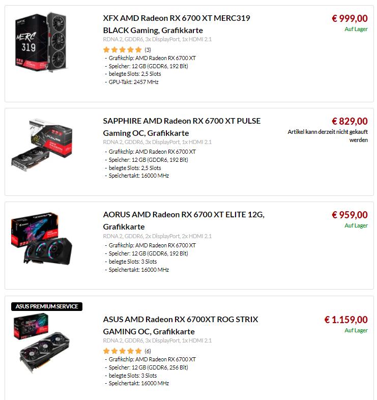 Ceny kart graficznych - RX 6700 XT