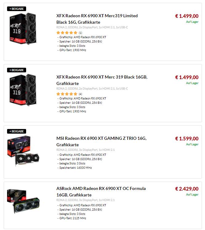 Ceny kart graficznych - RX 6900 XT