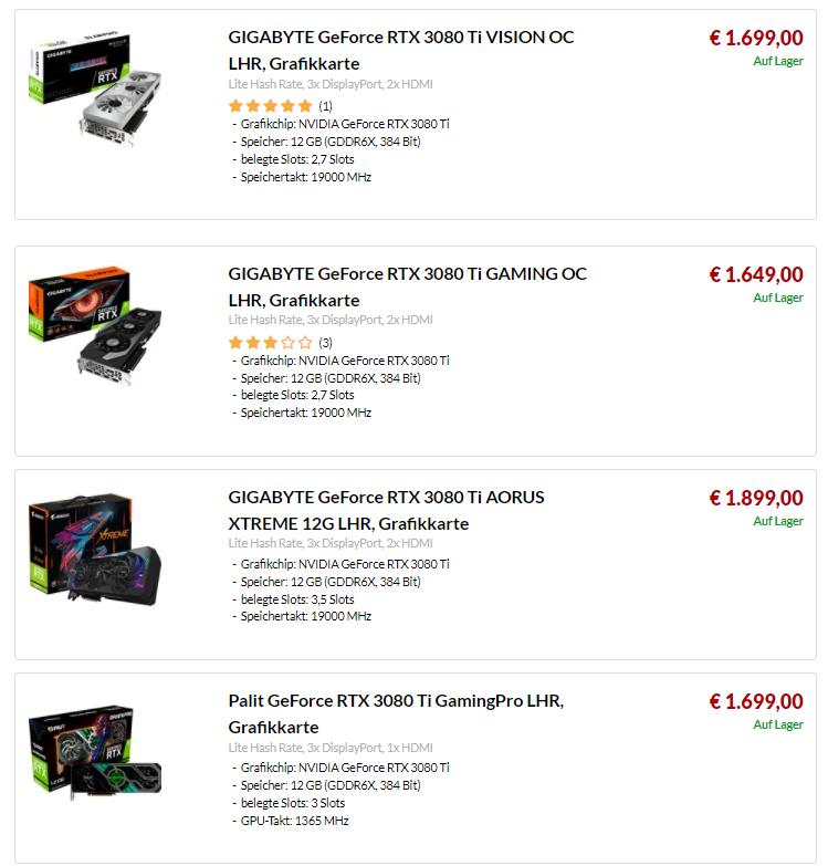Ceny kart graficznych - RTX 3080 ti