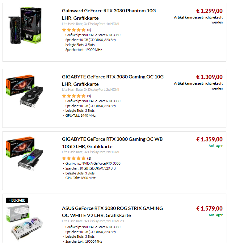 Ceny kart graficznych - RTX 3080