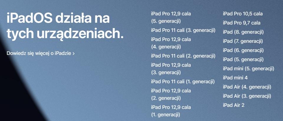 iPadOS 15 lista iPadów tabletów