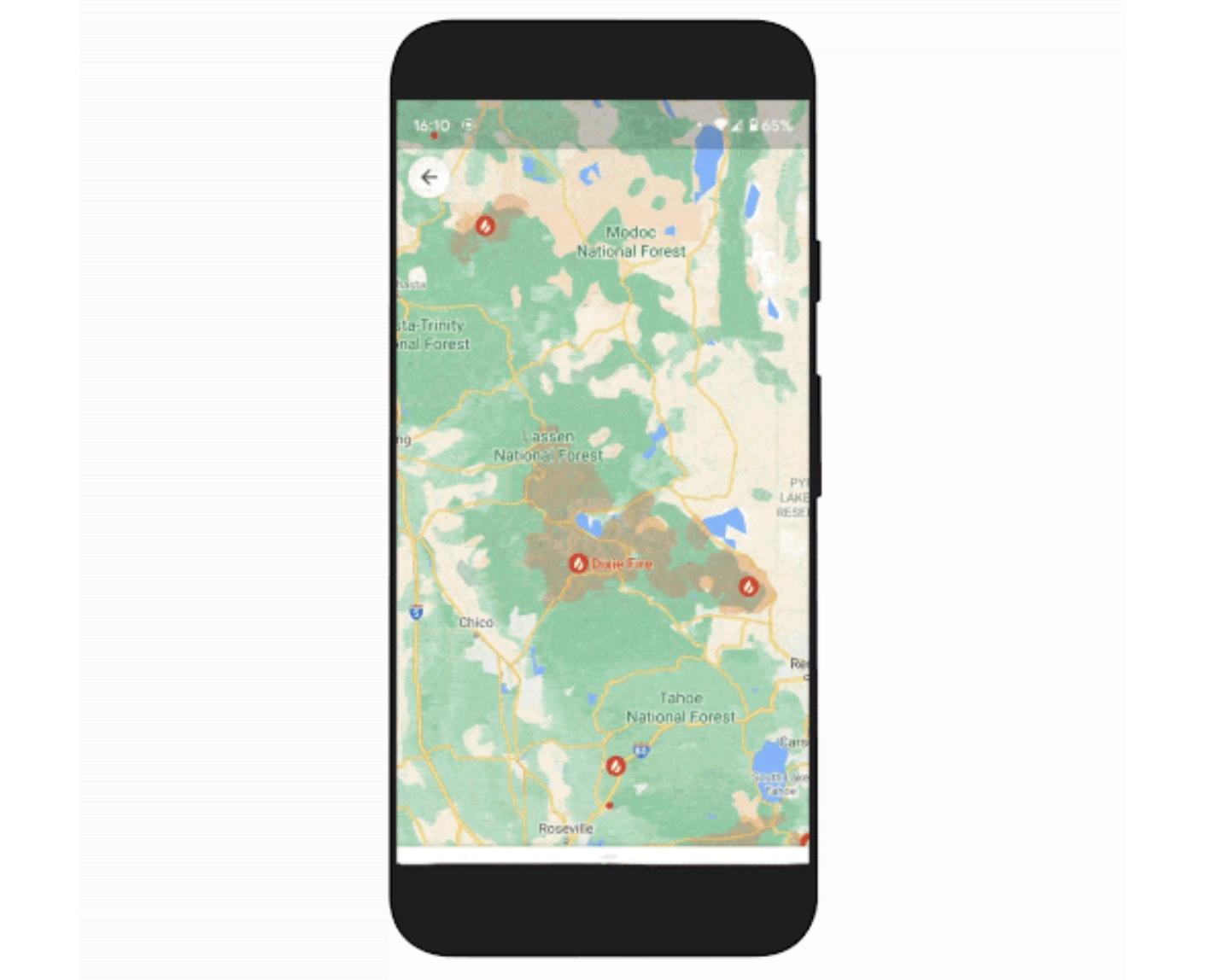 mapy Google obszar pożaru