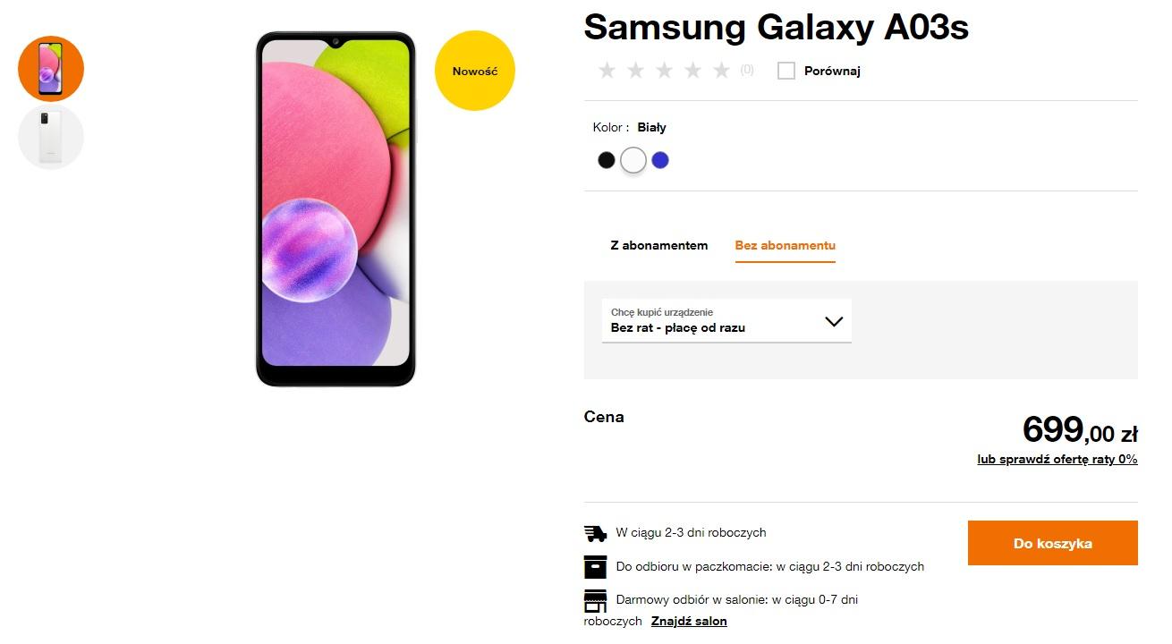 polska cena Samsung Galaxy A03s