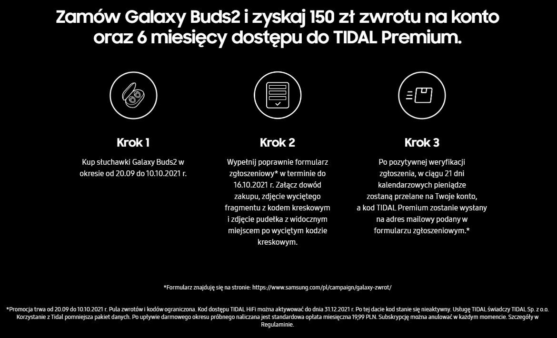 promocja Samsung Galaxy Buds 2 zwrot cashback TIDAL