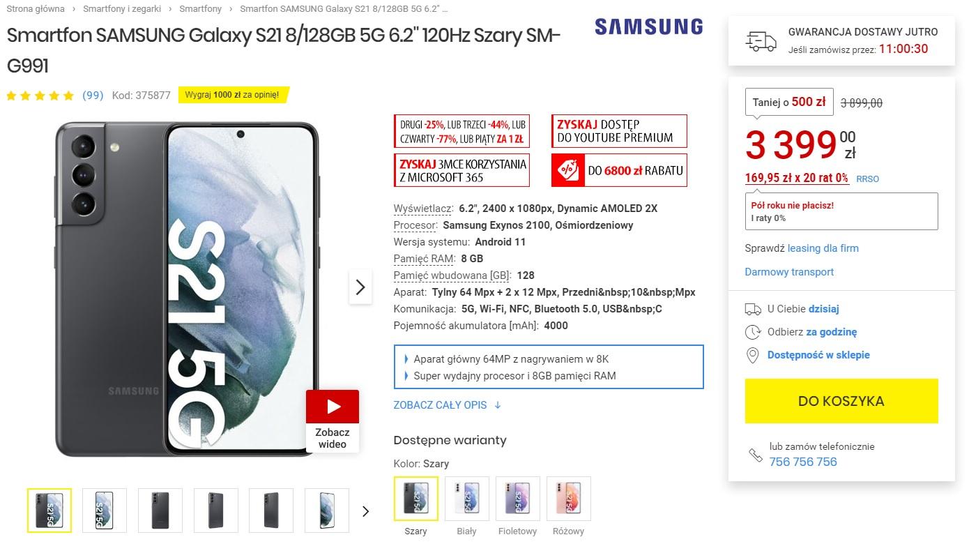 promocja Samsung Galaxy S21 za 3399 złotych Media Expert