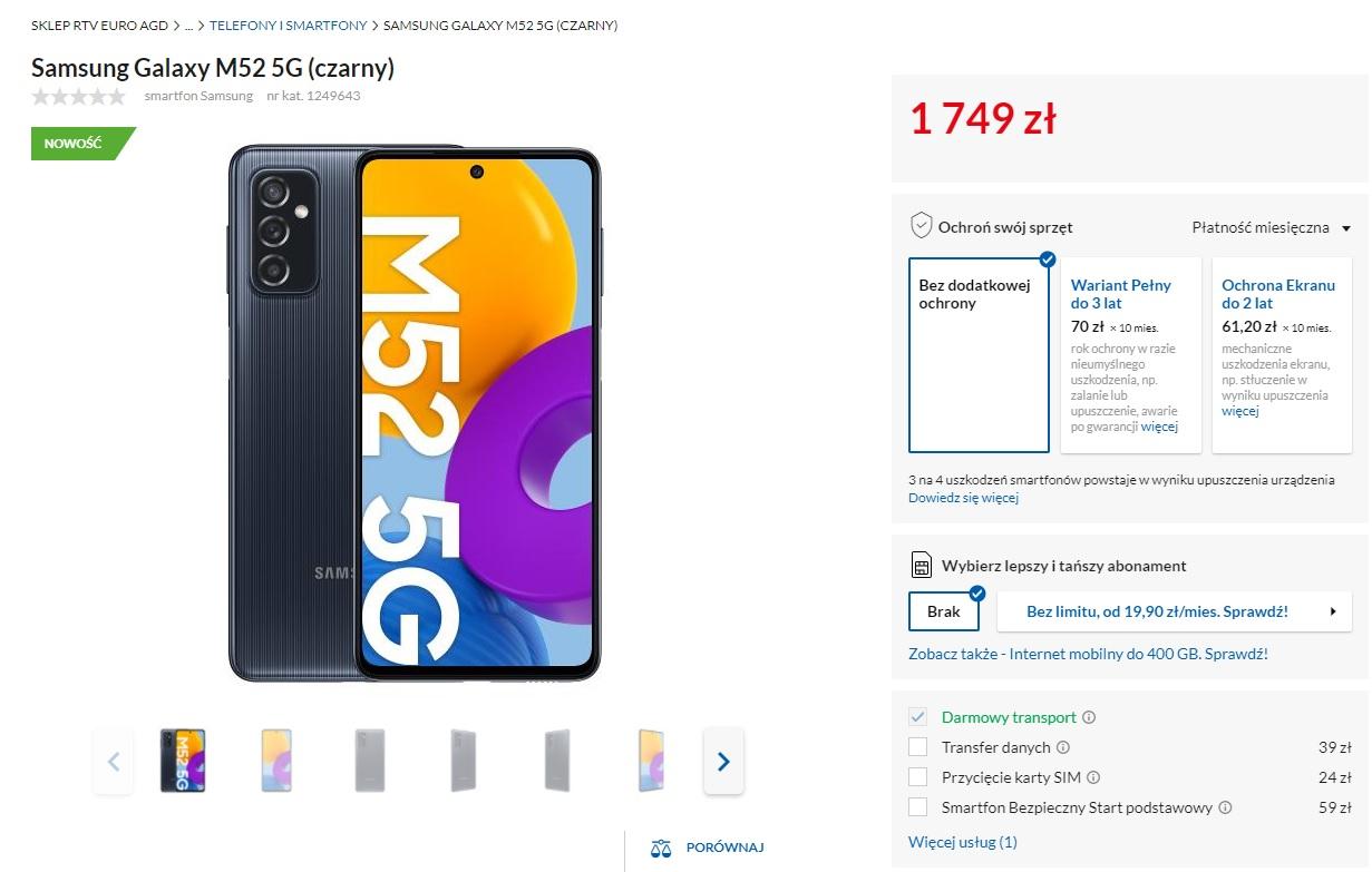 Samsung Galaxy M52 5G na stronie RTV EURO AGD