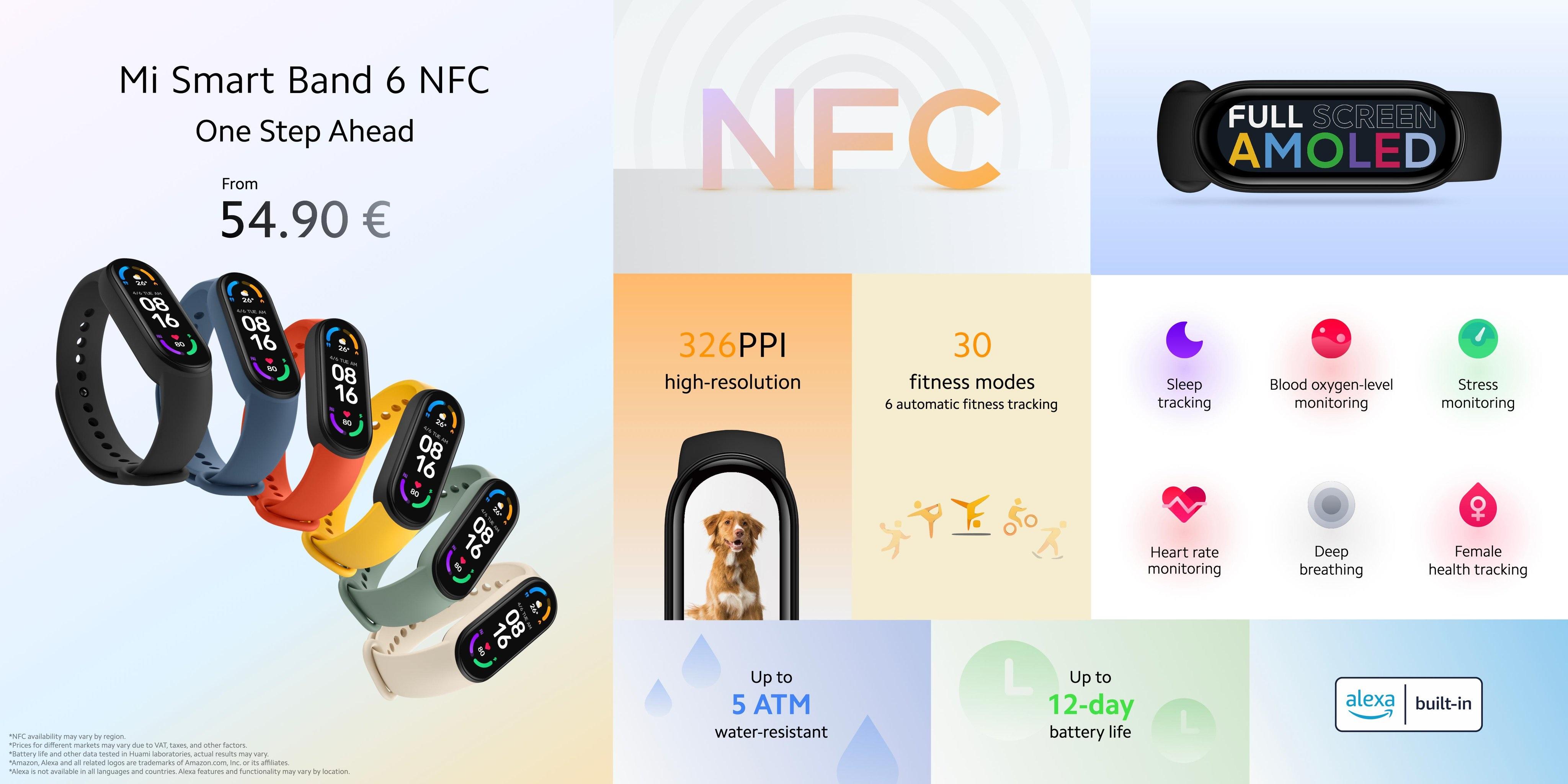 specyfikacja Xiaomi Mi Smart Band 6 NFC specs