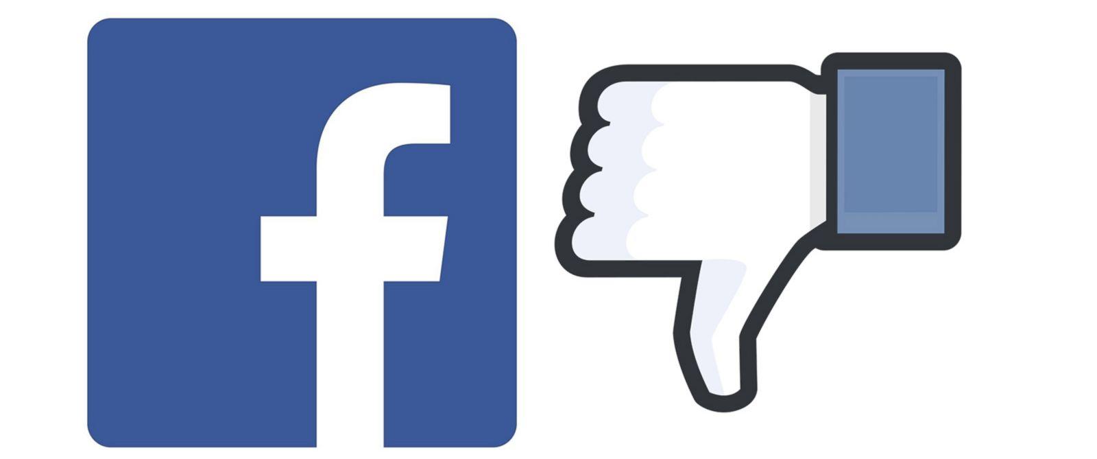 Facebook logo dislike łapka w dół