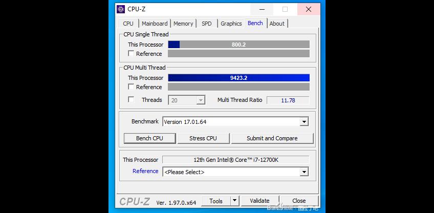 Intel Core i7-12700K CPU-Z
