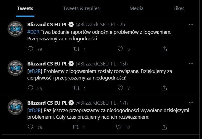 Status serwerów Diablo II Resurrected. I tak co kilka godzin