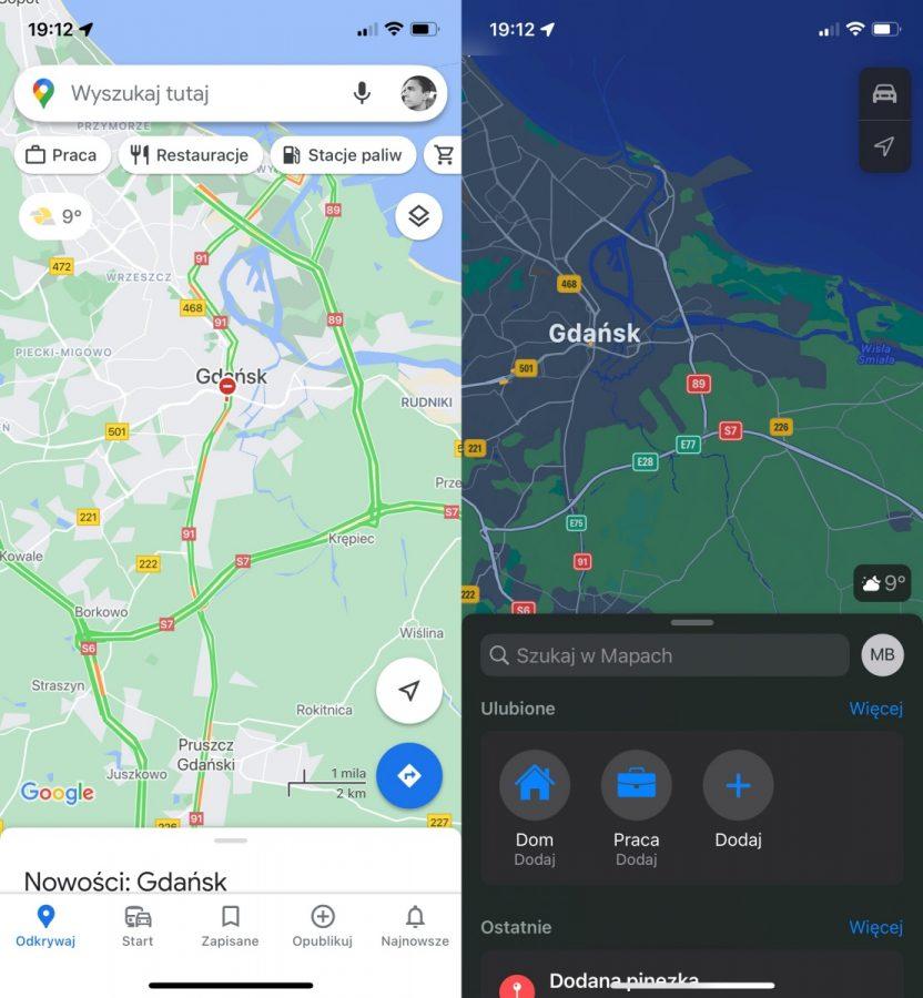 aplikacje Google i apple na iOS