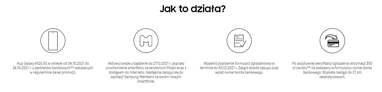 promocja Samsung Galaxy A52s zwrot 300 złotych na konto